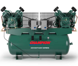7.5 HP 120 Gallon Horzional Duplex Champion Air Compressors Fully Packaged