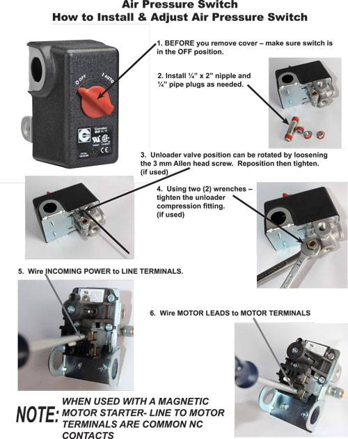 Pressure Switch DIRECTIONS PG 1 how to install & adjust an air pressure switch